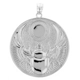 Sterling Silver Ancient Egyptian Scarab Beetle Pendant Necklace