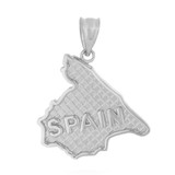 Solid White Gold Country of Spain Geography Pendant Necklace