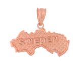Solid Rose Gold Country of Sweden Geography Pendant Necklace