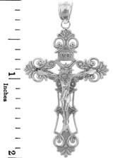 White Gold Crucifix Pendant - The Savior Crucifix