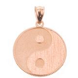 Rose Gold Yin and Yang Taoist Symbol Charm Pendant