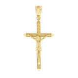 """Solid Yellow Gold Passion Cross Crucifix Pendant Necklace 1.40"""" (35 mm)"""