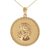 Solid Gold  Cuban Curb Link Frame Circle Jesus Christ Medallion Pendant Necklace