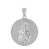 "Solid White Gold Saint Joseph Diamond Medallion Pendant Necklace  1.15"" ( 29  mm)"
