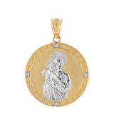 "Two Tone Solid Yellow Gold Saint Joseph Diamond Medallion Pendant Necklace  1.15"" ( 29 mm)"
