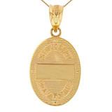 "Solid Yellow Gold Saint Joseph Diamond Oval Medallion Pendant Necklace 1.16"" (29 mm)"