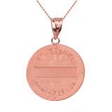 """Solid Rose Gold Archangel Saint Gabriel Diamond Medallion Pendant Necklace   1.15"""" ( 29 mm)"""
