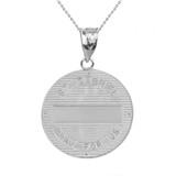 """Sterling Silver Archangel Saint Gabriel  CZ Medallion Pendant Necklace   1.15"""" ( 29 mm)"""