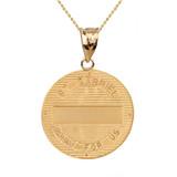 "Two Tone Solid Yellow Gold Archangel Saint Gabriel Diamond Medallion Pendant Necklace   1.15"" ( 29 mm)"