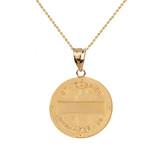 "Solid Yellow Gold Archangel Saint Gabriel Diamond Medallion Pendant Necklace   1.02""  (25 mm )"