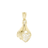 Yellow Gold Hand Holding Heart Diamond Pendant Necklace