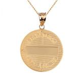"Two Tone Solid Yellow Gold Saint Patrick Shamrock Diamond Medallion Pendant Necklace 1.16""  (29 mm)"