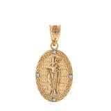 "Solid Yellow Gold Saint Patrick Diamond Oval Medallion Pendant Necklace 1.03"" ( 26 mm)"
