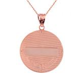 "Two Tone Solid Rose Gold Greek Orthodox Saint Nectarios of Aegina Engravable Diamond Medallion Pendant Necklace  1.16 "" (29 mm)"