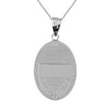 "Solid White Gold Greek Orthodox Saint Nectarios of Aegina Engravable Diamond Medallion Oval Pendant Necklace  1.18"" (29 mm)"