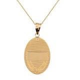 "Two Tone Solid Yellow Gold Greek Orthodox Saint Nectarios of Aegina Engravable Diamond Medallion Oval Pendant Necklace  1.00"" (25 mm)"