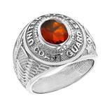 Solid White Gold United States Coast Guard Men's CZ Birthstone Ring