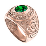 Solid Rose Gold United States Coast Guard Men's CZ Birthstone Ring