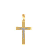 """Two Tone Solid Yellow Gold Layered Cross Jesus Christ Silhouette Pendant Necklace  1.23"""" (31  mm)"""