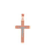 """Two Tone Solid Rose Gold Layered Cross Jesus Christ Silhouette Pendant Necklace  1.23"""" (31  mm)"""