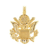 Yellow Gold American Eagle Coat of Arms Pendant Necklace