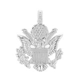 White Gold American Eagle Coat of Arms Pendant Necklace
