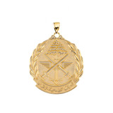 "Yellow Gold Lebanese Army Emblem Pendant Necklace ( 1.32"" )"