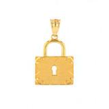 Solid Yellow Gold Swirl Rectangle Keyhole Padlock Pendant Necklace
