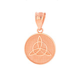 Solid Rose Gold Triquetra Irish Celtic Disc Circle Pendant Necklace