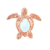 Rose Gold Sea Turtle with Simulated Opal Shell