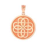 Solid Rose Gold Celtic Knot Flower Medallion Pendant Necklace