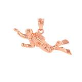 Solid Rose Gold Ocean Scuba Diver Underwater Exploration  Pendant Necklace