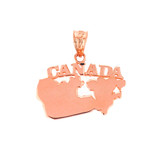 Solid Rose Gold Canada Pendant Necklace