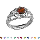 Sterling Silver Genuine Garnet Beaded Celtic Trinity Knot Engagement/Promise Ring