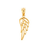 Solid Yellow Gold Filigree Guardian Angel Wing Pendant Necklace