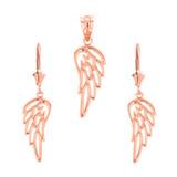 14K Solid Rose Gold Filigree Guardian Angel Wing Pendant Earring Set
