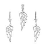 14K Solid White Gold Filigree Guardian Angel Wing Pendant Earring Set
