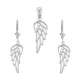 Sterling Silver Filigree Guardian Angel Wing Pendant Earring Set