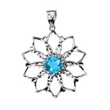Sterling Silver Blue Stone Lotus Flower Pendant