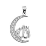 White Gold with Diamond Moon and Allah Pendant Necklace
