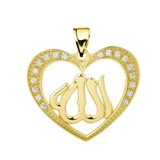 Yellow Gold Cubic Zirconia Heart with Allah Pendant Necklace