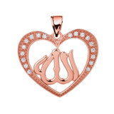 Rose Gold Cubic Zirconia Heart with Allah Pendant Necklace