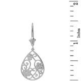 Sterling Silver Filigree Teardrop Floral Drop Earring Set