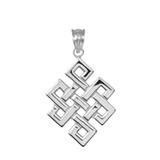 Sterling Silver Japanese Buddhist Eternity Knot Pendant