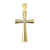 Elegant Yellow Gold Cubic Zirconia Cross Pendant