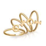 Solid Yellow Gold Alphabet Initial Letter R  Stackable Ring