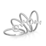 Solid White Gold Alphabet Initial Letter U Stackable Ring