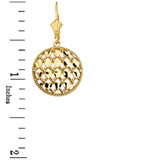 Solid Yellow Gold Double Layered Woven Hearts Filigree Circular Drop Earring Set