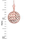 14K Solid Rose Gold Double Layered Woven Hearts Filigree Circular Drop Earring Set