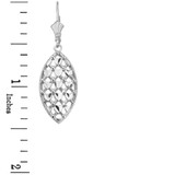 Sterling Silver Double Layered Woven Hearts Filigree Marquise Shape Drop Earring Set